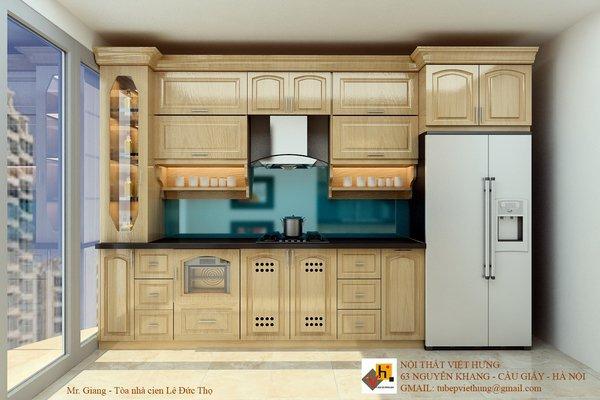 Tủ bếp gỗ sồi mỹ SM0004